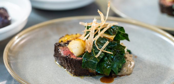 Manono-crusted Eye Fillet with Burnt Onion and Coconut Soubise