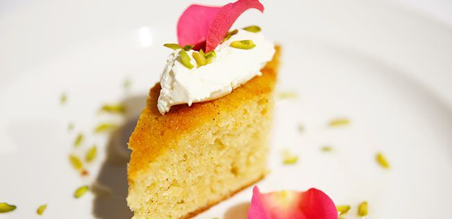 Middle Eastern Coconut Cake with Vanilla-rose Syrup