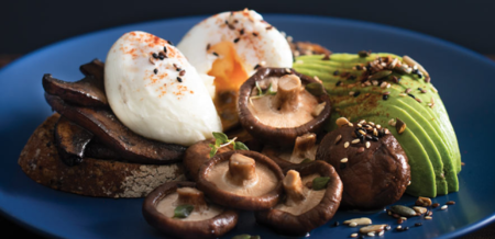 Mushrooms on toast with poached eggs,…