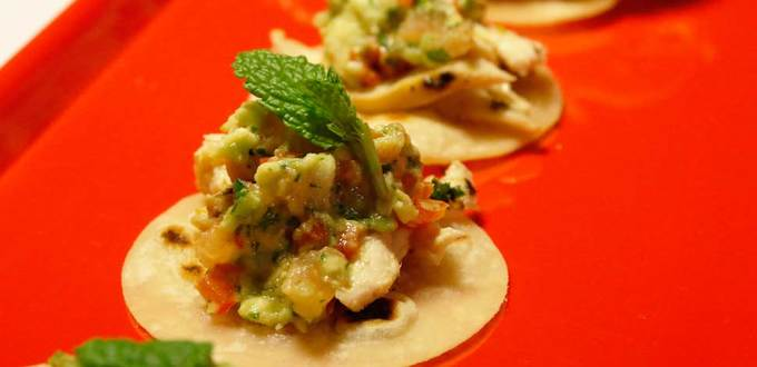 Little Tacos with Lemon Marjoram Chicken and George's Guacamole
