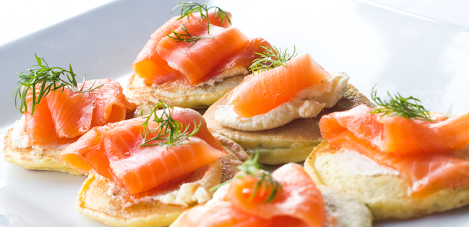 Smoked Salmon on Herbed Pancakes