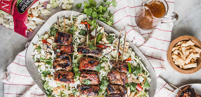 Asian Salad with Hoisin Pork Kebabs