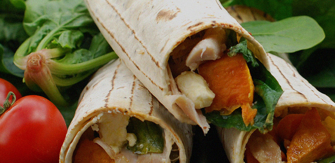 Kumara Chicken & Spinach Lunch Wraps