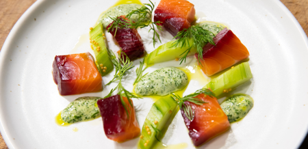 Beetroot cured Big Glory Bay salmon,…