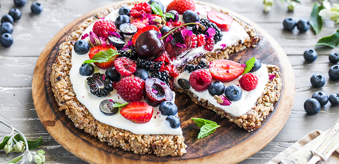 Almond Cacao Muesli Breakfast Pizza Vegan (GF)