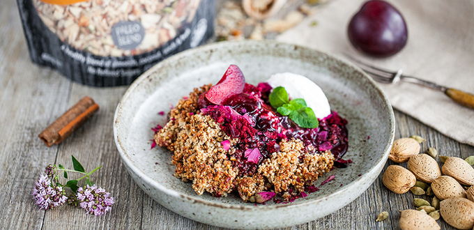 Spiced Almond Muesli & Black Doris Plum Crumble (GF)