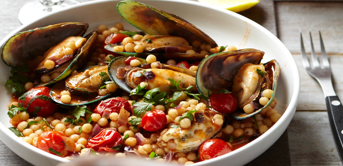 Mussels with Spiced Israeli Couscous