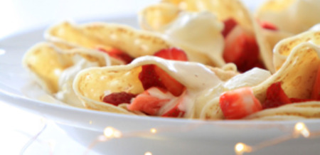 Crepe Pockets with Strawberries, Cream…