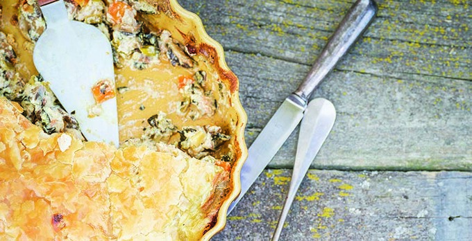 Rabbit (or chicken), leek & mushroom pie