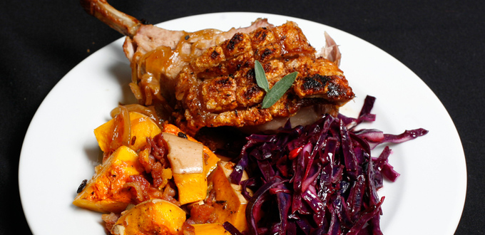Roast Pork with Crackling, Cider Gravy and Candied Butternut