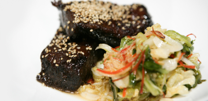 Sticky Beef Ribs with Peking Cabbage