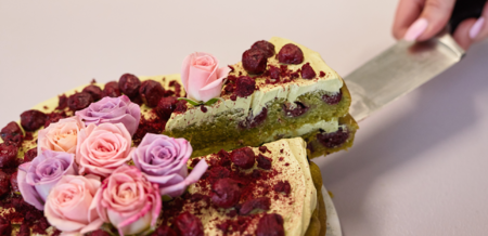 Matcha and Blackberry Cake