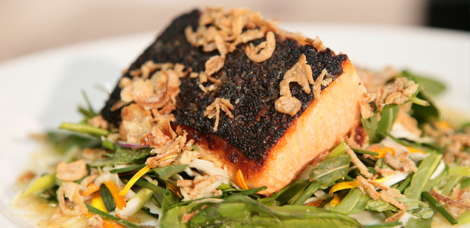 Ora King Salmon with Asian Greens and Nahm Jim