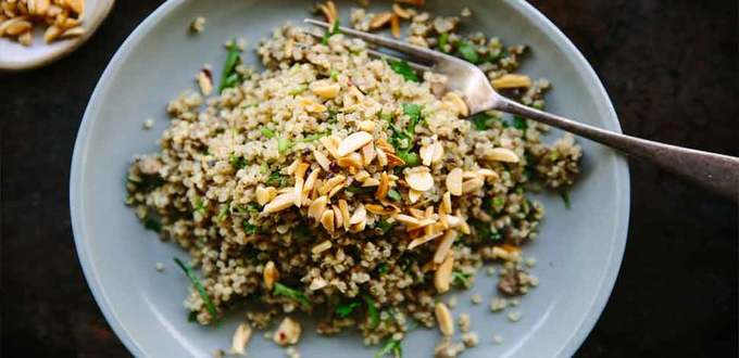 Lemony Mushroom Quinoa with Chilli Almonds