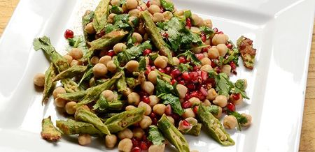 Crispy Okra and Chickpea Salad