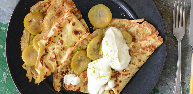 Feijoa & Lime Crepes with Cinnamon Yoghurt Cream