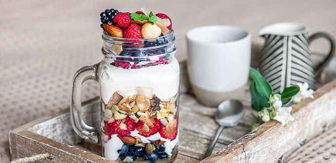 Macadamia and Honey Muesli Breakfast in a Mason jar (GF)