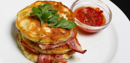 Feta and Corn Fritter Stacks