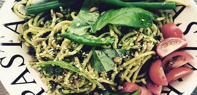Spaghetti and Roasted Garlic Seed Pesto
