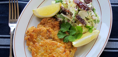 Chicken Picatta with Date & Herb Slaw