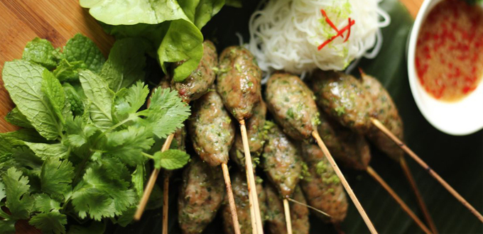 Nem Nuong - Grilled Pork Skewers with Vermicelli and Herbs