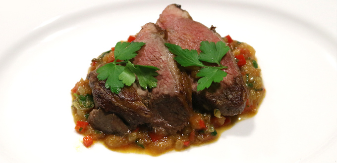 Roast Lamb Rump with Harissa, Tomato and Coriander