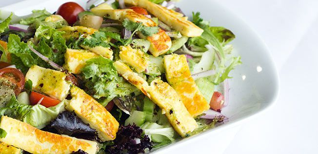 Fried Haloumi Salad with Honey Coriander…