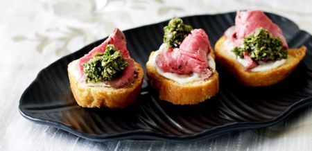 Toasted Crostini with Rare Beef and…