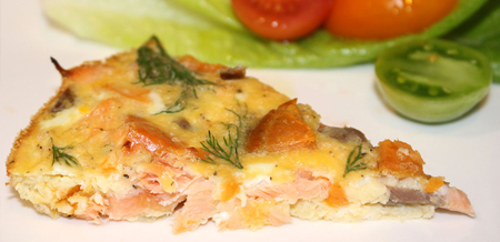 Hot Smoked Salmon and Kumara  Fritata