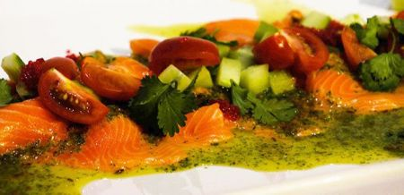 Salmon Carpaccio with Mojito Sauce