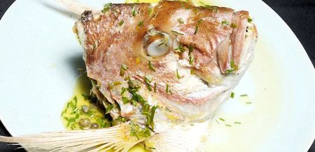 Roasted Snapper Head with Lemon Caper…