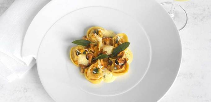 Butternut and Golden Chanterelle tortellini, Parmesan cream, Sage and Capers
