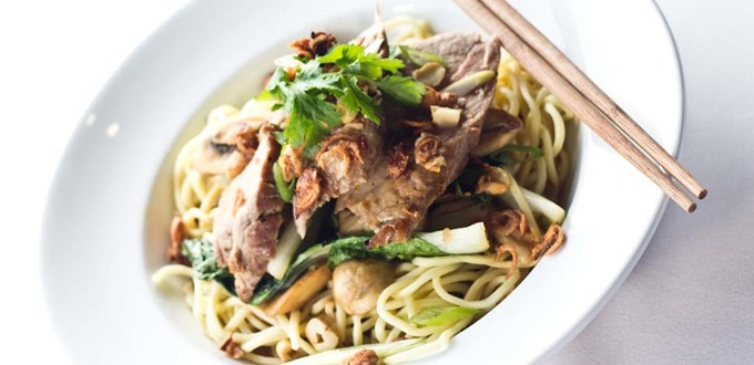Five-Spice Pork with Noodles, Mushrooms and Asian Greens