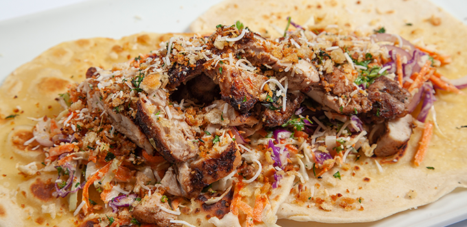 Jerk Chicken with Crispy Garlic Crunch & Coconut Slaw