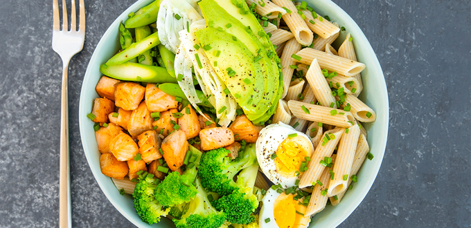 Salmon & Vegetable Brown Rice Pasta Bowl