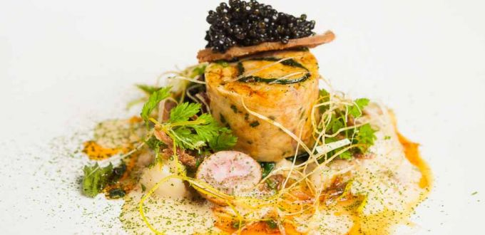 Ballotine of Rabbit with Champagne Veloute and Sturgeon Caviar