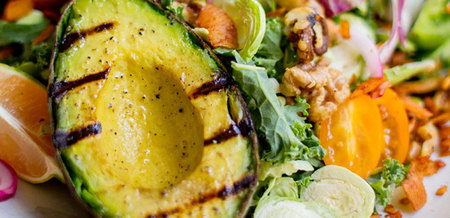 Grilled Avocado and Kale Salad