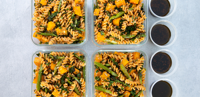 Meal Prep: Red Lentils Spirals with Pumpkin And Kale
