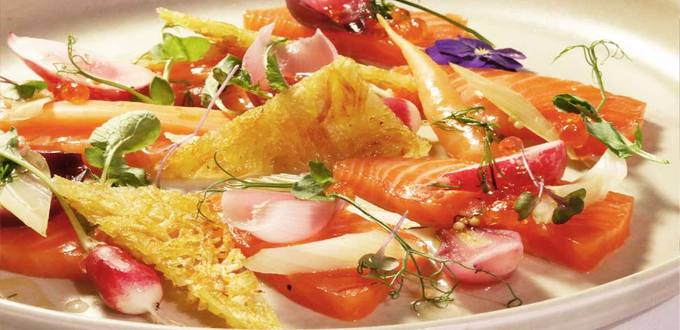 Citrus-cured Salmon with Pickled Baby Vegetables