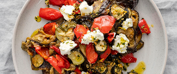 Slow-roasted Eggplant, Capsicum & Courgette with Lemon, Garlic & Herb Oil
