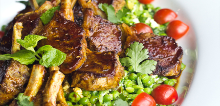 Spiced Lamb Cutlets with Feta and Peas