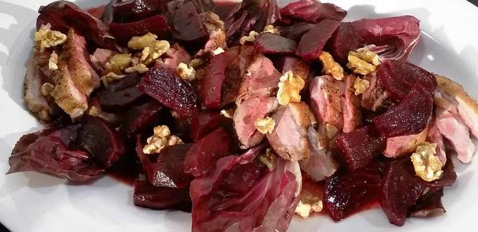 Pan-fried Duck Breast with Beetroot and Caramelised Walnuts