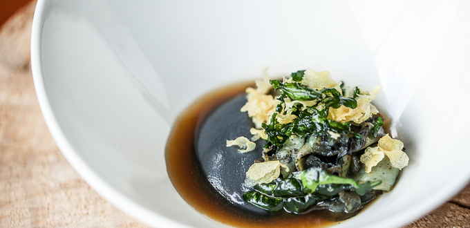 Black-Foot Paua, Pork Broth & Black Cauliflower with Garlic & Kale Chips