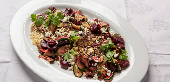 Pan-fried Lamb Backstraps with Sheep's Milk Feta, Zucchini, Beetroot and Israeli Couscous