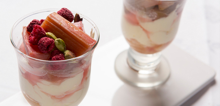 Mascarpone, Rosé and Rhubarb Trifles