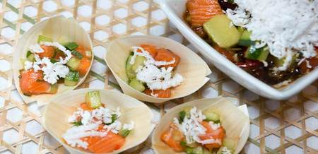 Salmon 'Poke' with Cucumber and Coconut
