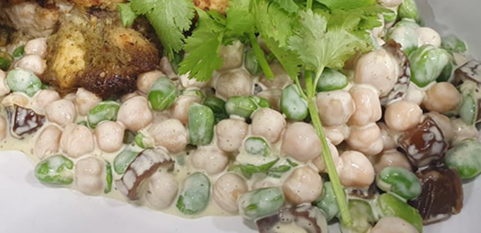 Broad bean, chickpea & mint salad with miso