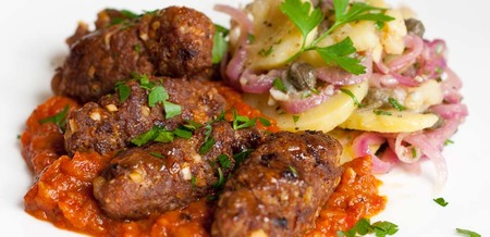 Cevapcici with Ayvar Sauce and Slovene…